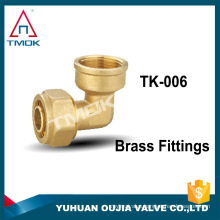 "1/2""NPT union double two way folw brass fittings connector female thread elbow forged brass nature color in TMOK low price"